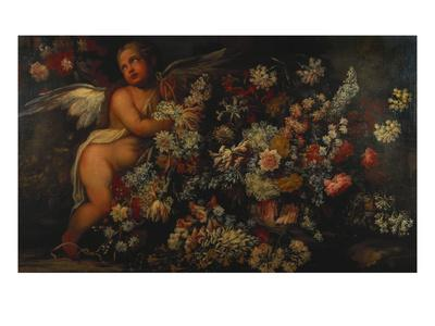 Flowers in and around a Basket with a Winged Putto Making a Garland