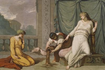Scene from the Myth of Cupid and Psyche Showing Venus Ordering Psyche to Separate Seeds
