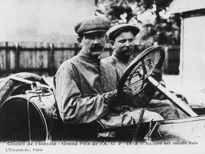 Felice Nazzaro Behind the Wheel of an Itala, French Grand Prix, Amiens, 1913--Photographic Print