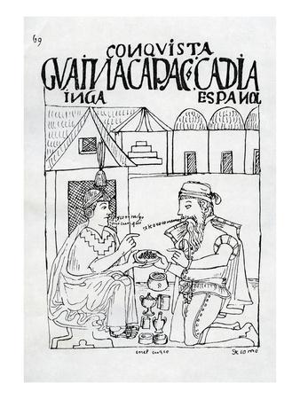An Inca Asks a Spaniard What He Eats, He Replies 'Gold' (Woodcut)