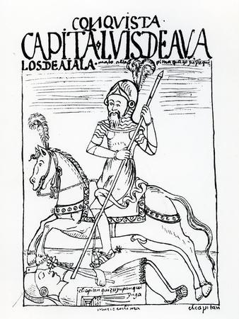 Captain Luis De Avalos Killing an Inca (Woodcut)