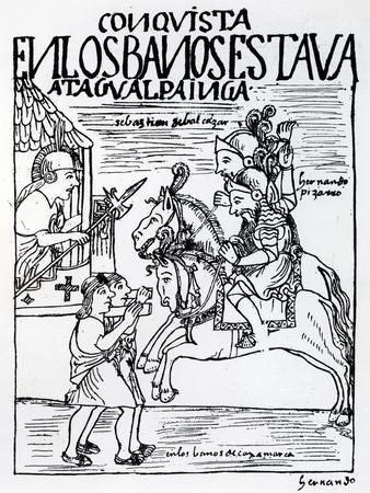 Sebastian De Benalcazar and Hernando Pizarro Confront Atahualpa Inca, Royal Baths in Cajamarca