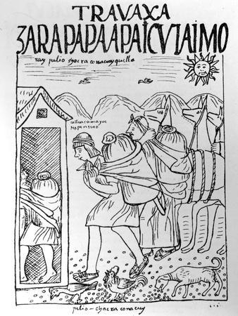The Month of July, Storing Maize and Potatoes (Woodcut)