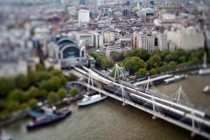 Aerial View of Hungerford Bridge over the Thames and Charing Cross Station, London by Felipe Rodriguez