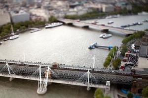 Aerial View of Hungerford Bridge over the Thames River, with Waterloo Bridge on the Background by Felipe Rodriguez