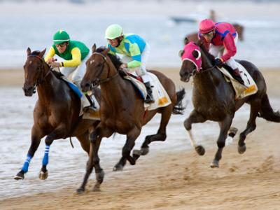 Horse Racing on the Beach, Sanlucar De Barrameda, Spain by Felipe Rodriguez