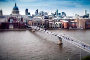 Millenium Bridge over the Thames and St Paul Cathedral on the Background, London by Felipe Rodriguez
