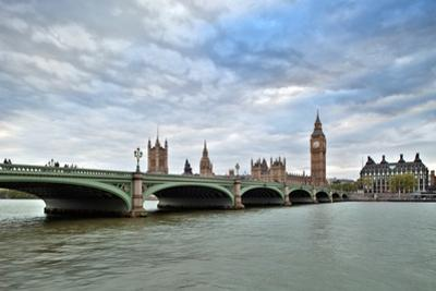 Westminster Bridge over the Thames with the Big Ben and the City of Westminster on the Background