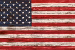 United States Flag on Wooden Surface by FelipeS