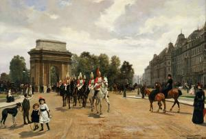 The Life Guards Passing Hyde Park Corner, London, circa 1886 by Felippo Baratti