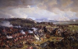 The Battle of Waterloo: British Squares Receiving the Charge of the French Cuirassiers by Felix Philippoteaux