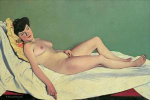 Reclining Nude on Yellow Cushion by Félix Vallotton