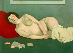 Reclining Nude with Blue Playing Cards by Félix Vallotton