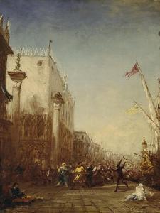 Carnaval à Venise, quai des Esclavons by Félix Ziem