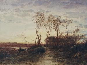 La Camargue, coucher de soleil by Félix Ziem