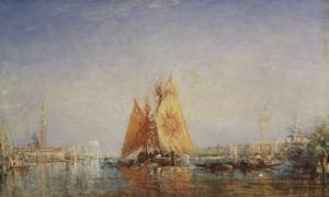 Venise, Trabacco à la voile jaune by Félix Ziem