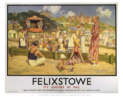 Felixstowe Punch and Judy Beach--Art Print