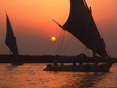 Felucca on Nile at Sunset, Cairo, Egypt-Steve Starr-Photographic Print