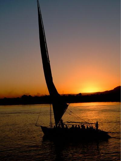 Felucca Silhouetted Against Setting Sun over the Nile at Luxor, Egypt-Cindy Miller Hopkins-Photographic Print