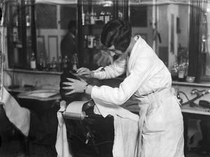 Female Barber Shaving