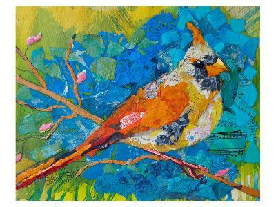 Female Cardinal On Blue--Art Print