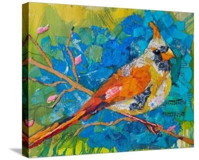Female Cardinal On Blue--Stretched Canvas Print