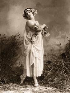 Female Dance in Robe With Flowers