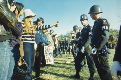 Female Demonstrator Offers a Flower to Military Police During the 1967 March on the Pentagon--Photo