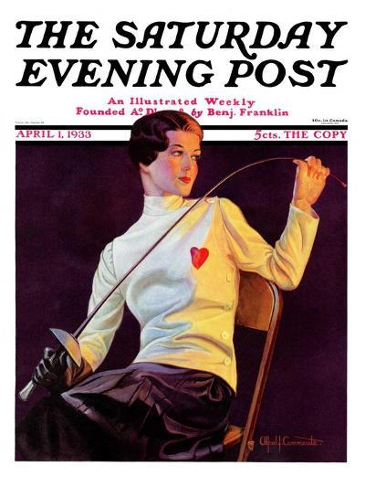 """Female Fencer,"" Saturday Evening Post Cover, April 1, 1933-Alfred F. Cammarata-Giclee Print"