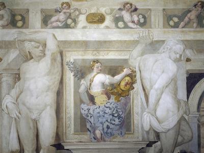 Female Figure Holding Up Caldogno Family Crest-Giovanni Antonio Fasolo-Giclee Print