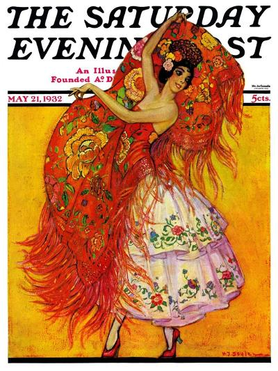 """""""Female Flamenco Dancer,"""" Saturday Evening Post Cover, May 21, 1932-Henry Soulen-Giclee Print"""