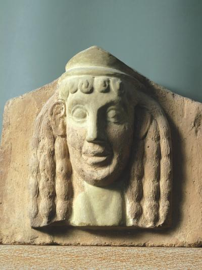Female Head, Antefix in Terracotta from Temple of Apollo in Thermos, Greece--Giclee Print