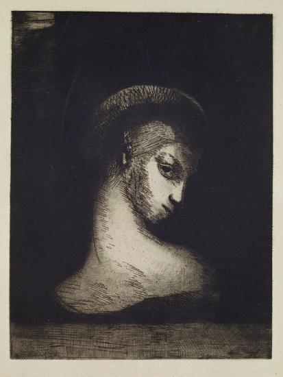 Female Head-Odilon Redon-Giclee Print