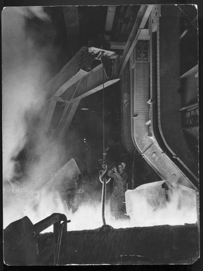 Female Metallurgist Peering Through an Optical Pyrometer to Determine the Temperature of Steel-Margaret Bourke-White-Photographic Print