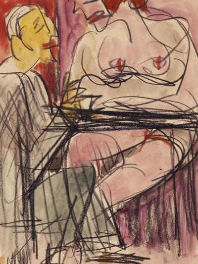Female Nude and Man Sitting at a Table; Weiblicher Akt Und Mann an Einem Tisch Sitzend-Ernst Ludwig Kirchner-Giclee Print