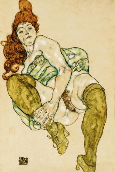 Female Nude Clasping Right Leg, 1917-Egon Schiele-Giclee Print