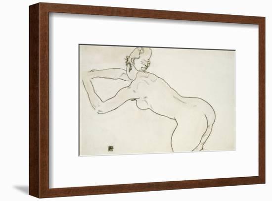 Female Nude Kneeling and Bending Forward to the Left, 1918-Egon Schiele-Framed Giclee Print