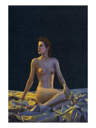 Female Nude on Gold Drapery--Art Print