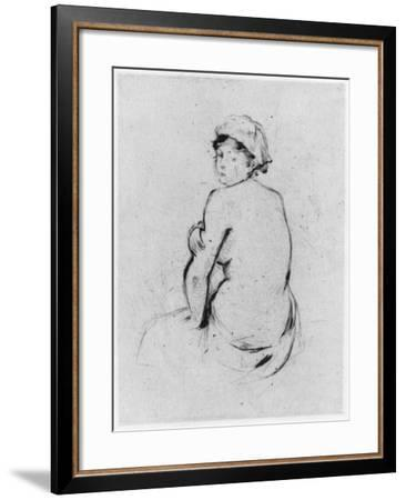 Female Nude Seen from Behind, 1889 (Drypoint)-Berthe Morisot-Framed Giclee Print
