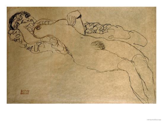 Female Nude Turned Left, 1914/15-Gustav Klimt-Giclee Print