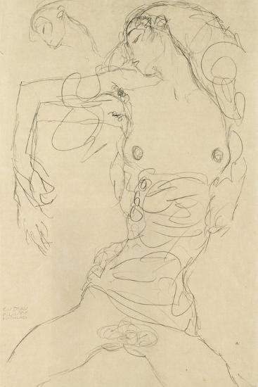 Female Nude with Bent Arm-Gustav Klimt-Giclee Print