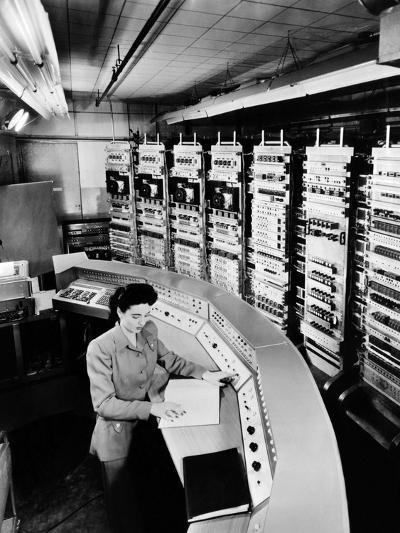 Female Operator at the Console of the 'Raydac', Raytheon Digital Automatic Computer, August 2, 1952--Photo