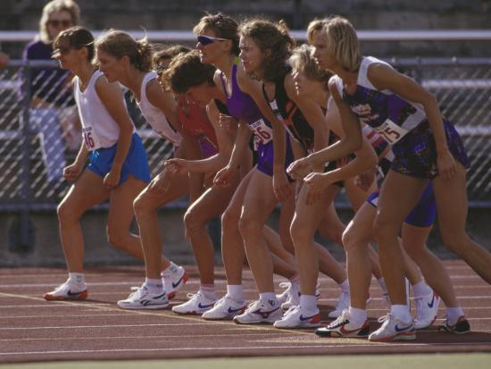 Female Runners at the Start of a Track Race--Photographic Print