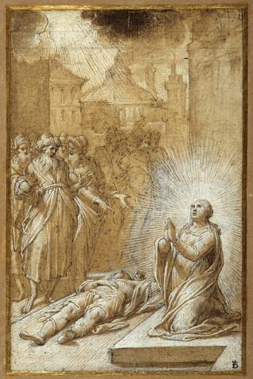 Female Saint Praying by the Body of a Dead Man-Camillo Procaccini-Giclee Print
