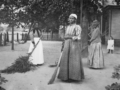 Female Servants Using Brooms of Bambusa on Latimer's Plantation, Belton, South Carolina, 1899--Photographic Print