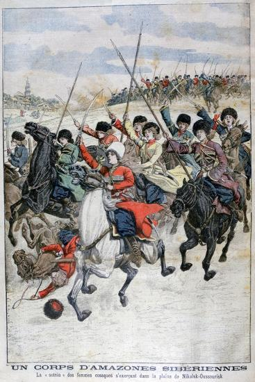 Female Siberian Cossack Cavalry Corps, Russo-Japanese War, 1904--Giclee Print