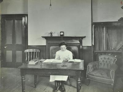 Female Student Sitting at Desk, Shoreditch Technical Institute, London, 1907--Photographic Print