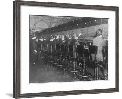 Female Switchboard Operators Connecting Calls--Framed Photographic Print