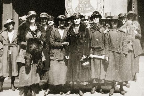 Female telephone operators on strike in Boston, Massachusetts, USA, 1919-Unknown-Photographic Print