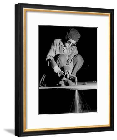 Female Welder at Work in a Steel Mill, Replacing Men Called to Duty During World War II-Margaret Bourke-White-Framed Premium Photographic Print
